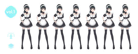 Anime manga girl. Costume of maid cafe