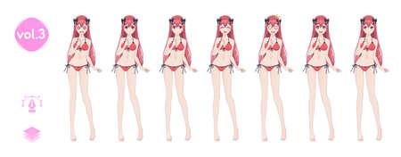 Anime manga girl. In a summer bikini swimsuit