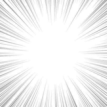 Linie akcji komiksu. Linie prędkości Manga rama. Kreskówka tło. Czarno-biała ilustracja wektorowa retro Ilustracje wektorowe