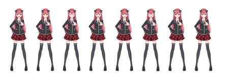 Anime manga girl, Cartoon character in Japanese style. Student girl in a black blazer, a red skirt in a cage. Set of emotions. Sprite full length character for game visual novel