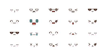 Kawaii icons faces expressions cute smile emoticons. Japanese emoji Reklamní fotografie - 124922290