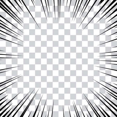 Linee d'azione a fumetti. Linee di velocità Cornice Manga. Priorità bassa del fumetto. Illustrazione vettoriale in bianco e nero retrò su sfondo trasparente