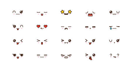 Kawaii faces expressions cute smile emoticons. Japanese emoji Reklamní fotografie - 124806565