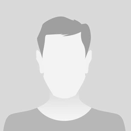 Persona hombre de marcador de posición de foto gris en camiseta sobre fondo gris Ilustración de vector