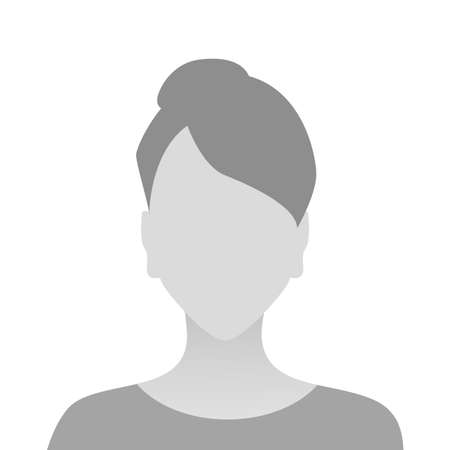 Person gray photo placeholder woman in T-shirt on white background Illustration