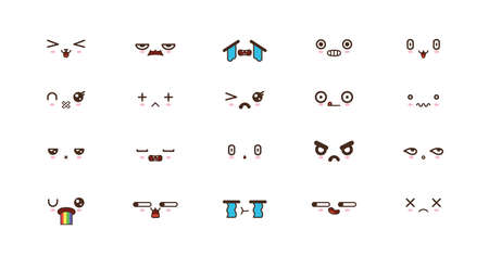 Kawaii faces expressions cute smile emoticons. Japanese emoji Ilustrace