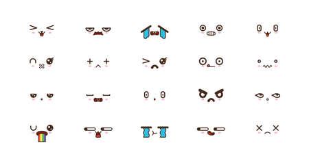 Kawaii gezichten uitdrukkingen schattige glimlach emoticons. Japanse emoji
