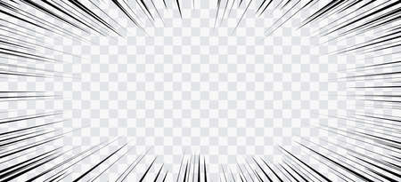 Comic book action lines. Speed lines Manga frame. Cartoon background. Black and white vector retro illustration on transparent background Illusztráció