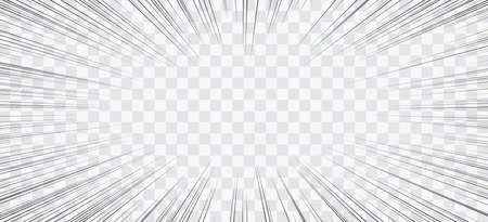 Líneas de acción de cómic. Marco de Manga de líneas de velocidad. Fondo de dibujos animados. Ilustración retro vector blanco y negro sobre fondo transparente