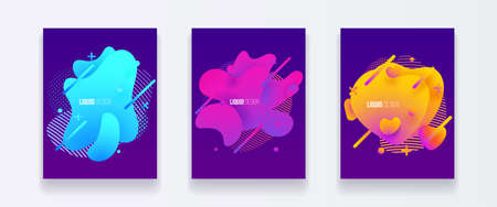Abstract cover set of liquid shapes. Fluid vector design. Gradient flyer, banners with flowing liquid shapes. Modern design template. Illustration