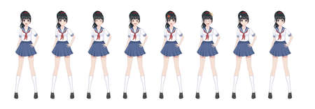 Anime manga girl, Cartoon character in Japanese style.School girl in a sailor suit, blue skirt.Set of emotions.Sprite full length character for game visual novel Ilustrace