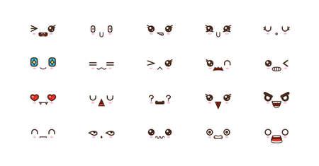 Kawaii faces expressions cute smile emoticons. Japanese emoji Illustration