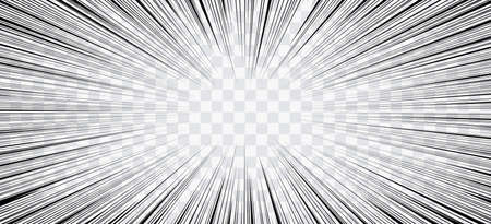 Comic-Aktionslinien. Geschwindigkeitslinien Manga-Rahmen. Cartoon-Hintergrund. Retro- Schwarzweiss-Vektorillustration auf transparentem Hintergrund Vektorgrafik