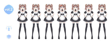 Anime manga girl, Cartoon character in Japanese style. Costume of maid cafe. Set of emotions. Sprite full length haracter for game visual novel