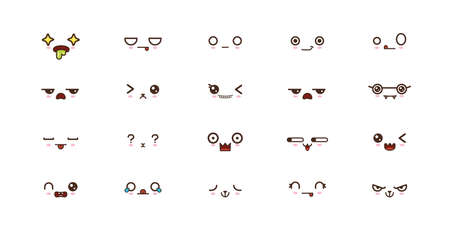Kawaii faces expressions cute smile emoticons. Japanese emoji Illusztráció
