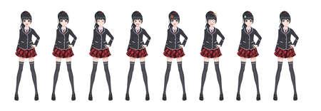 Anime-Manga-Mädchen, Zeichentrickfigur im japanischen Stil. Studentin in einem schwarzen Blazer, einem roten Rock in einem Käfig. Satz von Emotionen. Sprite-Charakter in voller Länge für Game Visual Novel