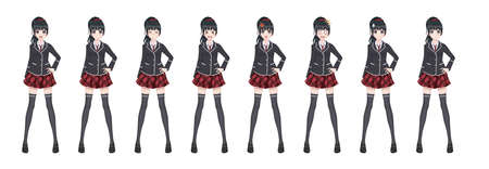 Chica anime manga, personaje de dibujos animados en estilo japonés. Chica estudiante con un blazer negro, una falda roja en una jaula. Conjunto de emociones. Sprite personaje de larga duración para la novela visual del juego