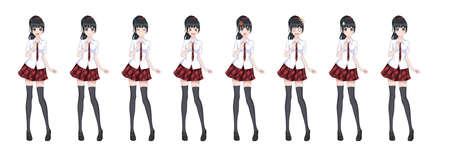 Anime-Manga-Mädchen, Zeichentrickfigur im japanischen Stil. In einem weißen Hemd, einem roten Rock im Käfig, einer Krawatte und schwarzen Strümpfen. Satz von Emotionen. Sprite-Charakter in voller Länge für Game Visual Novel Vektorgrafik