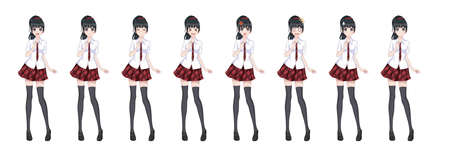 Anime manga girl, Cartoon character in Japanese style. In a white shirt, a red skirt in a cage, a tie and black stockings-tights. Set of emotions. Sprite full length character for game visual novel Illustration