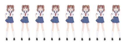 Anime-Manga-Mädchen, Zeichentrickfigur im japanischen Stil. Schulmädchen in einem Matrosenanzug, blauer Rock. Emotionen. Sprite-Charakter in voller Länge für Game Visual Novel Vektorgrafik