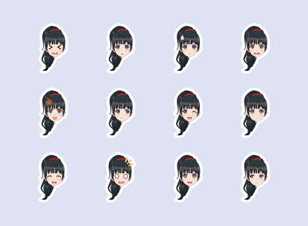 Set of emotional stickers head anime manga girl. Japanese cartoon style. For chat messages, paper or t-shirt print. Girl with black hair  イラスト・ベクター素材