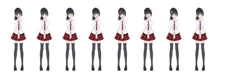 Anime manga girl, Cartoon character in Japanese style. In a white shirt, a red skirt in a cage, a tie and black stockings-tights. Set of emotions. Sprite full length character for game visual novel  イラスト・ベクター素材