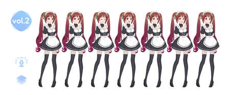 Anime manga girl, Cartoon character in Japanese style. Costume of maid cafe. Set of emotions. Sprite full length character for game visual novel