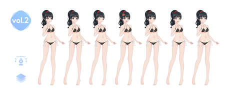 Anime manga girl, Cartoon character in Japanese style. In a summer bikini swimsuit. Set of emotions. Sprite full length character for game visual novel