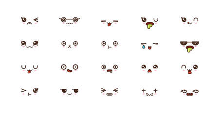 Kawaii icons faces expressions cute smile emoticons. Japanese emoji Reklamní fotografie - 124655752