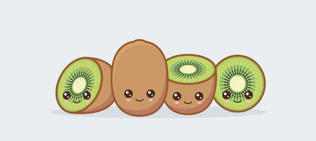 Kiwi cute kawaii mascot. Set of funny kawaii drawn fruit in the cut