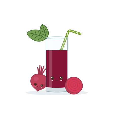 beet juice. Cute kawai smiling cartoon juice with slices in a glass with juice straw.