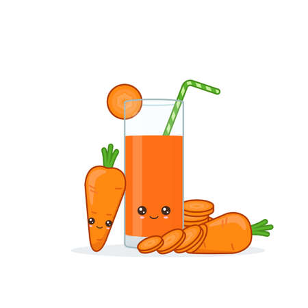 carrot juice. Cute kawai smiling cartoon juice with slices in a glass with juice straw. Ilustrace