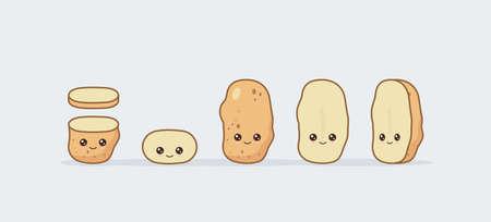 Set potato. Cute kawaii smiling food. Vector illustration