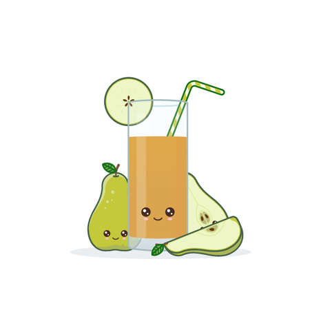 pear juice. Cute kawai smiling cartoon juice with slices in a glass with juice straw. Ilustrace