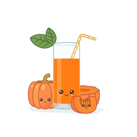 pumpkin juice. Cute kawai smiling cartoon juice with slices in a glass with juice straw.
