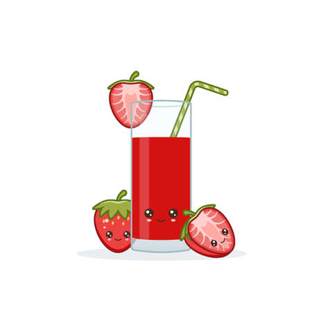 strawberry juice. Cute kawai smiling cartoon juice with slices in a glass with juice straw. Ilustrace