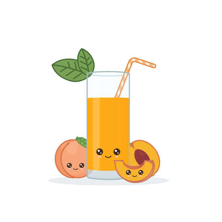 peach juice. Cute kawai smiling cartoon juice with slices in a glass with juice straw.