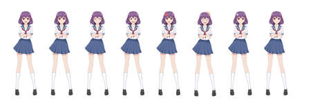 Anime manga girl, Cartoon character in Japanese style.School girl in a sailor suit, blue skirt.Set of emotions.Sprite full length character for game visual novel Illusztráció