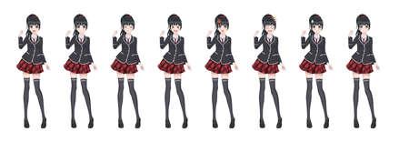 Anime manga girl, personnage de dessin animé dans un style japonais. Fille étudiante dans un blazer noir, une jupe rouge dans une cage. Ensemble d'émotions. Personnage complet de Sprite pour roman visuel de jeu