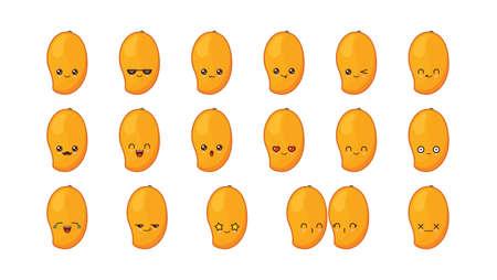 Mango cute kawaii mascot. Set kawaii food faces expressions smile emoticons.