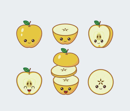 Yellow apple cute kawaii mascot. Set of funny kawaii drawn fruit in the cut Ilustrace
