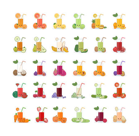 Set of fruit and vegetable juice. Cute kawai smiling cartoon juice with slices in a glass with juice straw.