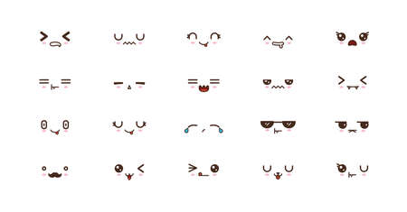Kawaii icons faces expressions cute smile emoticons. Japanese emoji Banco de Imagens - 127487910