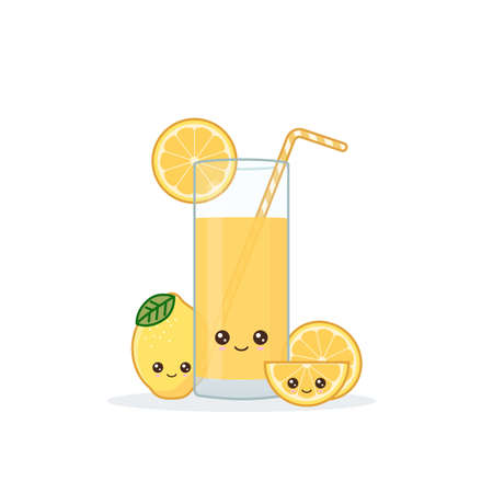 lemon juice. Cute kawai smiling cartoon juice with slices in a glass with juice straw.