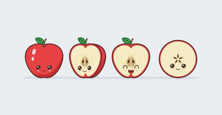 Red Apple cute kawaii mascot. Set of funny kawaii drawn fruit in the cut