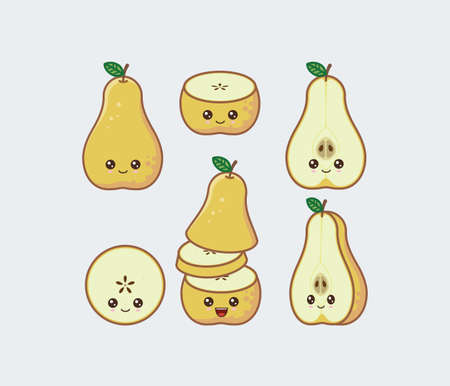 Yellow pear cute kawaii mascot. Set of funny kawaii drawn fruit in the cut