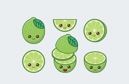 Lime cute kawaii mascot. Set of funny kawaii drawn fruit in the cut Ilustrace