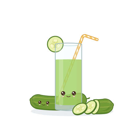 cucumber juice. Cute kawai smiling cartoon juice with slices in a glass with juice straw.