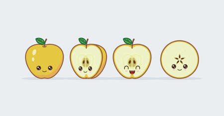 Yellow apple cute kawaii mascot. Set of funny kawaii drawn fruit in the cut Ilustração