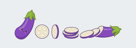Set eggplant. Cute kawaii smiling food. Vector illustration